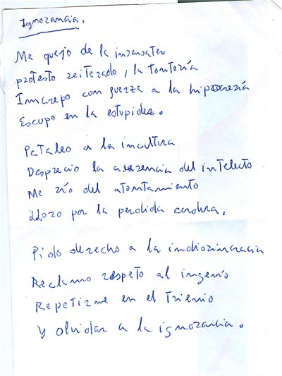 Carta con poesía